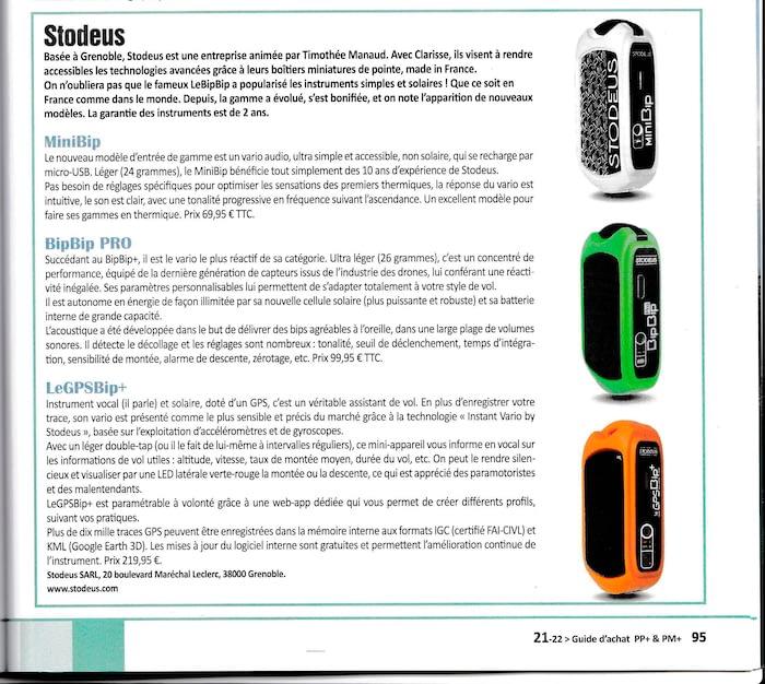 GPS et variomètres Stodeus miniBip, BipBip PRO et GPSBip+ dans le guide d'achat 2021 de Parapente Plus